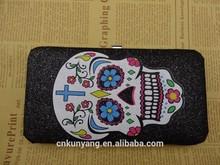 lady's fashion pu wallet with hidden aluminium fram fabric shell