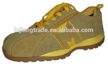 Nuevo diseño amarillo fría de cementación para hombre de cuero de gamuza barato de seguridad de la zapatilla de deporte
