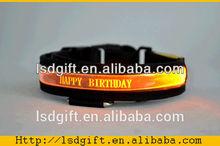 Custom logo led plain nylon webbing led flashing dog collars
