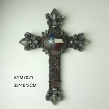 Polyresin cross wall art decor for home decoration
