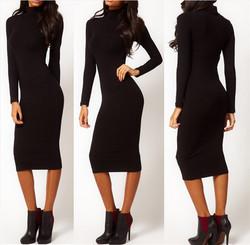 2015 sexy show thin long pattern turtleneck dress women autumn spring long sleeve casual dress