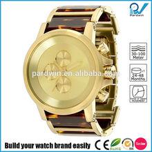 testudinarious gold steel band mix tortoiseshell watch