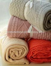 50db60 100% cotone patchwork coperta a maglia, 100% cavo maglia di cotone letti...