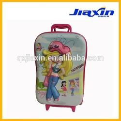 3D lovely children girl travel luggage