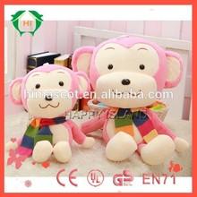 HI EN71custom design stuffed animal monkeys with scarf