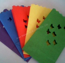 Wax candle colored luminary candle bags