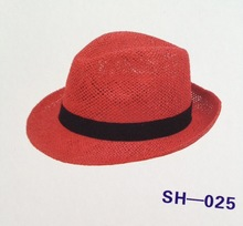 natural fedora paper straw hat for promotion wholesale