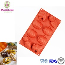 Supplies halloween silicone mould 8 cavity differents images Cat, Mommy, Pumpkin, Jack-lantern,