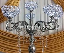 wedding table decoration LED illuminated crystal candelabra type vase centre piece