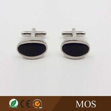Classic rhodium plated metal cufflinks with black epoxy for men