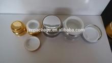 7g/15g/20g/30g 10ml round shape glass bottle aluminuim body fashion red cream jar with shiny silver cap
