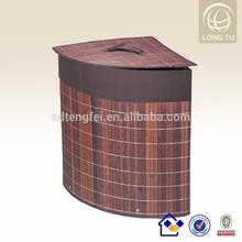 Corner Bamboo Folding Laundry Hamper/basket laundry with removable bag