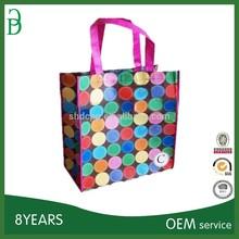 PP laminated shopping bag with colorful big dot printed