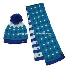 jacquard dots knit beanie hat scarf set