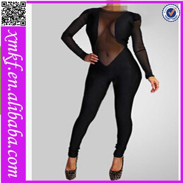 novo design de malha sexy da tala preta longa meninas vestido de uma peça para festa macacões para adultos xg003
