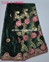 V125-4 green bridal velvet lace embroidered velvet fabric material with sequins
