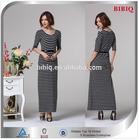 Elegant White and Black Stripe Half Sleeve Long Evening Dress