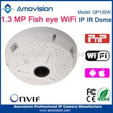 NEW !! Fisheye 1.3 MP P2P QP130W wireless fish eye 360 security camera