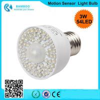 new arrival E27 PIR Motion Sensor Light Bulb & 3W Light Sensor 54-LED LED High Performance Energy Saving White Light Bulb