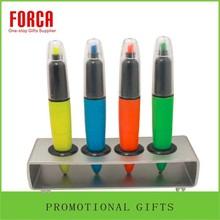 Fluorescent Marker Pen/Ball Pen 2 in 1 Plastic Marker Pen Plastic Pen