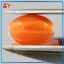Good Quality Orange Oval Cat Eye Glass Gemstone