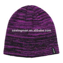 Melange yarn acrylic flat knitting beanie hat