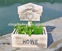 Unique decorative wooden garden plant box holder with arrow board S/3
