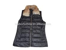 new stylish women heating padding vest, real fur collar sleeveless garment
