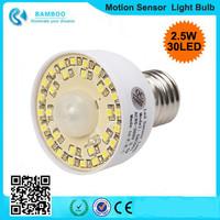 2.5W E27 Acoustic Occupancy Sensor 30LED 3528SMD Bulb Lamp Light PIR Motion Detector