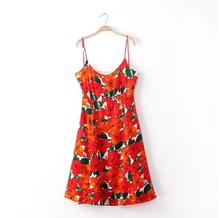 lates floral print strap Chiffon dress bodycon dresses knee length
