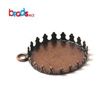 Beadsnice ID 10126 metal pendant base finding Brass Cabochon Pendant Setting fits 25mm round Hole 2.5mmrack blank brass jewelry