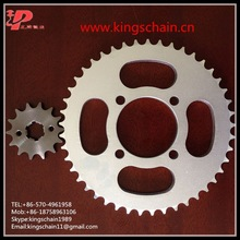 ybr125 motorcycle parts galvanized motorcycle crown and natural color pinion and chain 428H