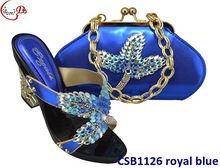 New lady high heel shoes with matching purse/cluth/bag CSB1126 royal blue