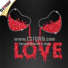 Love hearts hotfix transfers, rhinestone glitter t shirt design