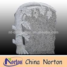 carved trees design tombstone grey granite headstone NTGT-070