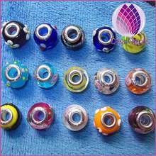 Fashion high quality big hole glass beads beautiful Crystal glass jewelry accessories