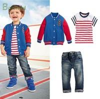 Fashion child casual set baby boys long-sleeve 3pcs suit summer boy clothes 3 piece suit