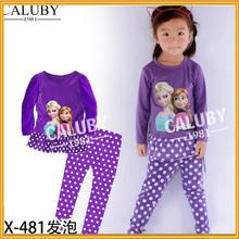 Hot Selling Cartoon Sleep Wear Frozen 2-Piece Pajama For Children Girl Frozen Costume Frozen Girls Pajamas ZZJ-FS-008