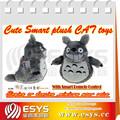 Controle de luz de rolamento e rindo mini bonito gato cinza, animação animal de pelúcia brinquedo de pelúcia