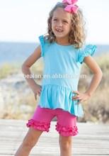 2015 newest baby cotton ruffle shirt tops tee infant toddler girls blank ruffle sleeve t shirt
