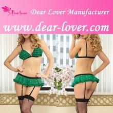 Hot high quality 3pcs sexy mature women xxl sexy green lingerie pics