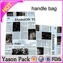Yason solf-loop handle bag pvc tube handle carrier bag/promotional wine bottl ldpe die cut pathch handle bag