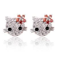 Lovely Cat Flower Stud Earring For Girls Gold Plate Austrian Crystal Kitten Earings