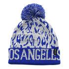 LOS ANGELES acrylic jacquard pom pom leopard knit beanie hat