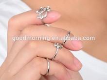 2015 Wholesale Spring Summer Crystal Heart Gold Leaves Fashion Finger Ring Set
