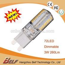 Factory Direct Wholesale High Lumen 3W 72LED 2700K/6000K Dimmable G9 LED Bulb