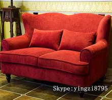 American classic fashion fabric sofa solid wood Living Room Sofas Furniture red fabric sofa