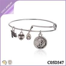 Personalized Expandable Silver Plated Wire Vintage Letter P Charm Bracelet