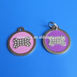 Pink Round Bone Crystal Bling Pet ID Name Tag Cat Dog