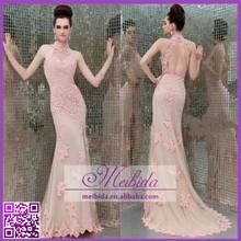 Fashion Wholesale Appliques Floor Length High Neck Backless Lace Evening Dress Slit Long